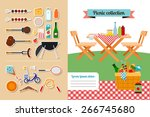 vector picnic elements... | Shutterstock .eps vector #266745680