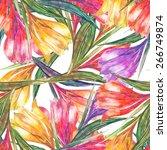 beautiful watercolor spring...   Shutterstock . vector #266749874