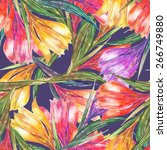 beautiful watercolor spring...   Shutterstock . vector #266749880