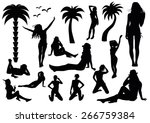 set of beach silhouettes | Shutterstock .eps vector #266759384
