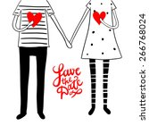 cute doodle couple with hearts... | Shutterstock .eps vector #266768024