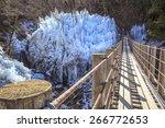 Icicle and suspension bridge, Saitama, Japan - stock photo
