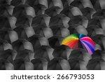 rainbow umbrella in mass of... | Shutterstock . vector #266793053
