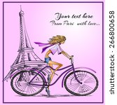 fashion girl on the bike hand... | Shutterstock .eps vector #266800658