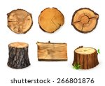 wood  vector set banners and... | Shutterstock .eps vector #266801876