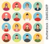 female character faces avatars. ... | Shutterstock .eps vector #266813609
