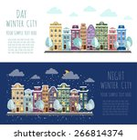 day and night in a small town. | Shutterstock .eps vector #266814374