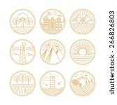 vector linear icons and logo... | Shutterstock .eps vector #266826803