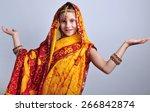 studio portrait of little girl... | Shutterstock . vector #266842874
