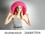 expressive young model in pink... | Shutterstock . vector #266847554