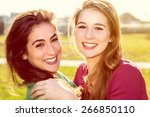 two happy girls | Shutterstock . vector #266850110