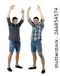 two handsome young men isolated ... | Shutterstock . vector #266854574