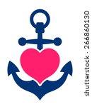 blue marine or ships anchor...   Shutterstock .eps vector #266860130