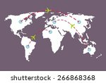 world map with routes airplane  | Shutterstock .eps vector #266868368
