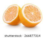 Small photo of Rangpur (lemandarin) - citrus fruit, hybrid between mandarin orange and lemon isolated on white