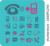 communication  phone icons set  ...