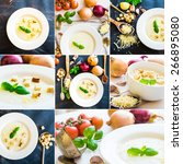 photo collage onion soup with... | Shutterstock . vector #266895080