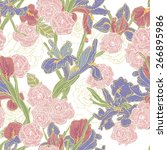 hand drawn spring  floral... | Shutterstock .eps vector #266895986