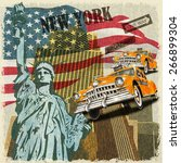 new york  vintage poster. | Shutterstock .eps vector #266899304