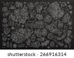 easter chalkboard hand drawn... | Shutterstock .eps vector #266916314
