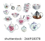 Tea Time Set. Water Color Hand...