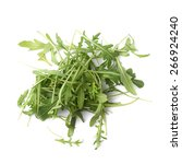 Small photo of Pile of eruca sativa rucola arugula fresh green rocket salad leaves, composition isolated over the white background