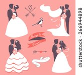 set of elegant wedding couples... | Shutterstock .eps vector #266944898