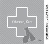 Stock vector vector silhouettes of cat and dog on the poster for veterinary shop or clinic 266951426