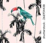 tropic summer floral seamless... | Shutterstock .eps vector #266954438
