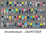 multiethnic casual people... | Shutterstock . vector #266957069
