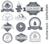 ecology set label template of... | Shutterstock .eps vector #266963084