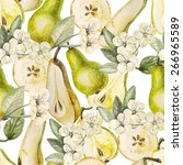 watercolor pattern with pears... | Shutterstock .eps vector #266965589
