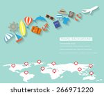 summer background  flat design. ... | Shutterstock .eps vector #266971220