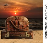 baggage on a beach. concept... | Shutterstock . vector #266974964