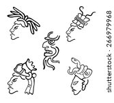 faces in style of maya indians  ... | Shutterstock .eps vector #266979968