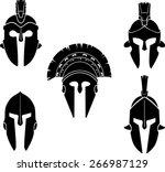 spartan helmet silhouette set | Shutterstock .eps vector #266987129