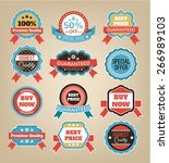 vector vintage badges  stickers ... | Shutterstock .eps vector #266989103