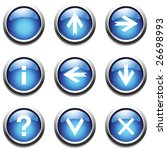 blue buttons with signs. vector.   Shutterstock .eps vector #26698993