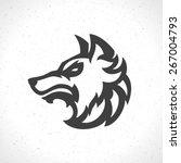 wolf face logo emblem template... | Shutterstock .eps vector #267004793