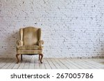 luxury chair near white brick... | Shutterstock . vector #267005786