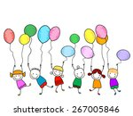happy kids with balloons   Shutterstock .eps vector #267005846