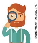 a man with beard holding while... | Shutterstock .eps vector #267007676