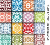 16 geometric colorful seamless... | Shutterstock .eps vector #267011048