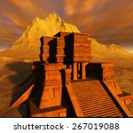 the stairs of mayan temple | Shutterstock . vector #267019088