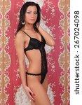 beautiful sexy woman in black... | Shutterstock . vector #267024098