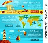 set of summer travel and...   Shutterstock .eps vector #267025610