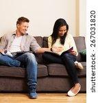 multi ethnic students couple... | Shutterstock . vector #267031820