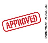 red vector grunge stamp approved   Shutterstock .eps vector #267033083