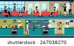 the restaurant has a dining... | Shutterstock .eps vector #267038270