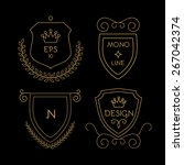 gold shields badge set in line... | Shutterstock .eps vector #267042374